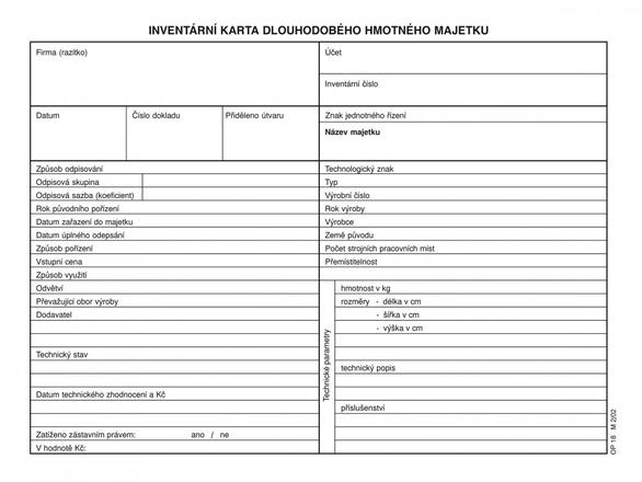 Inventarni Karta Dhm A5 1018 Papiernicky Tovar